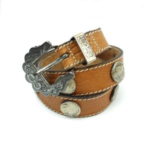 Doppia Vita Brown Lizard Grain Buffalo Nickel Belt